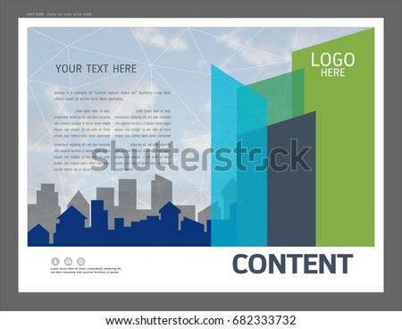 presentation layout design business greenery template stock vector, Powerpoint templates