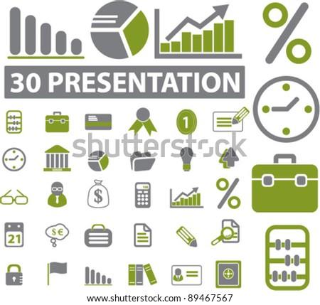 presentation icons set, vector illustrations - stock vector