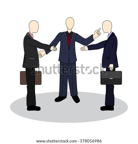 Presentation of colleagues at the meeting. Business etiquette. Handshake between businessmen. - stock vector
