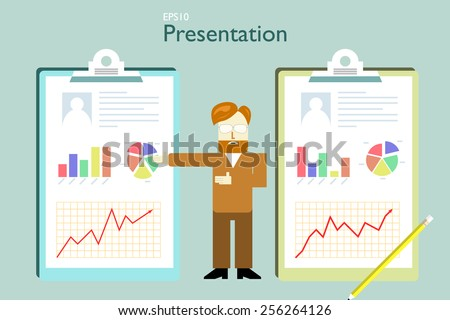 presentation of evaluation compare to two charts - stock vector