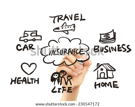 presentation of insurance drawn by hand on a transparent board - stock vector