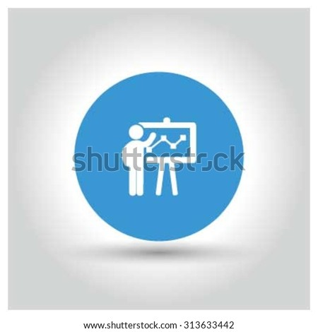 Presentation on business growth icon. Blue Business Pictogram. vector illustration - stock vector