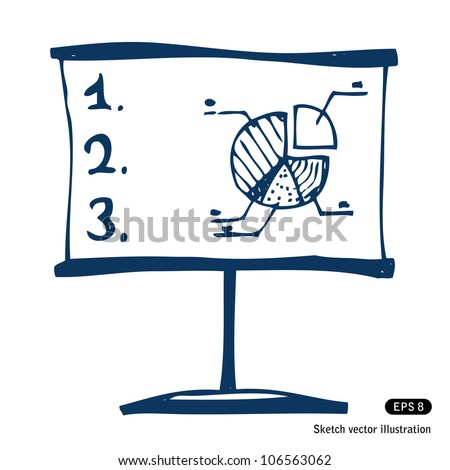 Presentation screen with graphic diagram. Hand drawn sketch illustration isolated on white background - stock vector