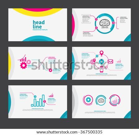 presentation template flat design set brochure stock vector, Presentation templates