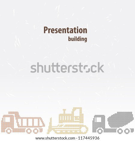 Presentation template for the construction business using technology: concrete mixer, dump truck, tractor, grader - stock vector