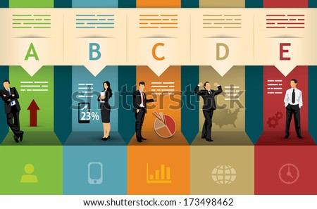 Presentation template of five different statistical options - stock vector