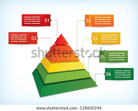 Presentation template with a pyramidal diagram symbolizing hierarchy or other differences - stock vector