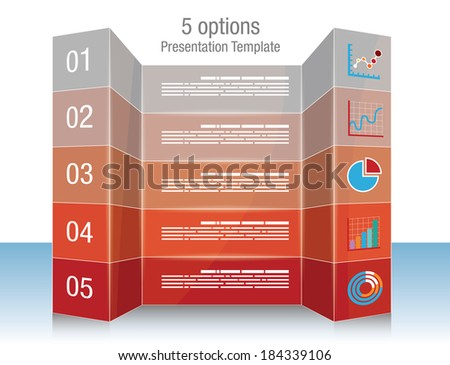 Presentation template with five options and icons - stock vector