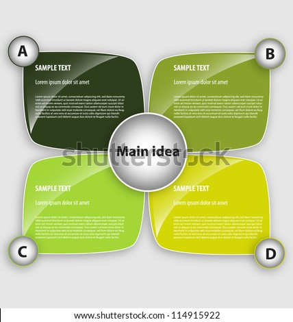 Presentation template with four text boxes - stock vector