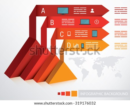 Presentation template with triangle base and four different options - stock vector