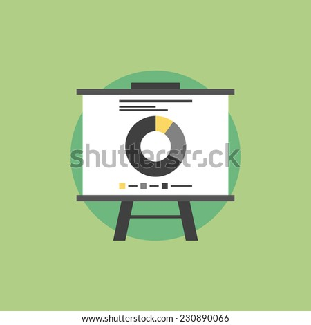 Presentation whiteboard with market data and statistics for  future marketing campaign and business strategies. Flat icon modern design style vector illustration concept. - stock vector