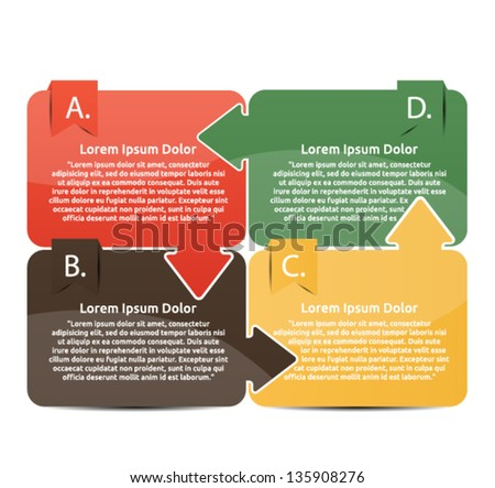 Presentation with four different coloured text box - stock vector