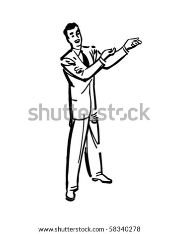 presenter 1 salesman retro clip art stock vector 58340278 shutterstock rh shutterstock com used car salesman clipart happy salesman clipart