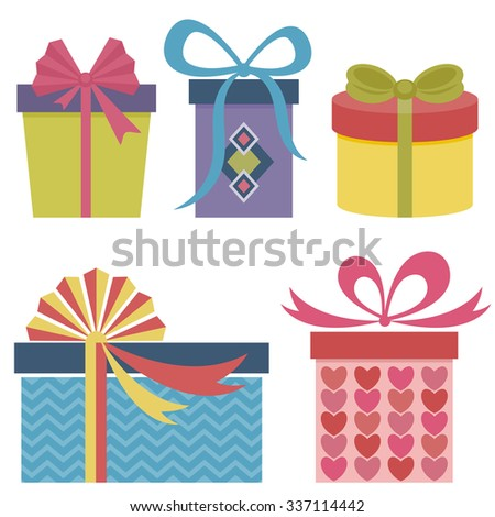Presents and gifts set - stock vector