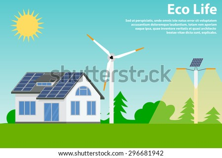 Preserving the environment and using renewable energy sources - solar and wind. Eco house and street lighting. - stock vector
