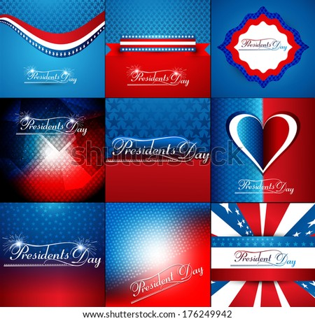 President Day in United States of America collection colorful background vector illustration - stock vector