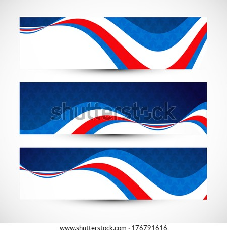 President Day in United States of America with colorful three header set vector illustration