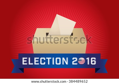 Presidential Election Day 2016. Text: Election 2016. American Flag's Symbolic Elements - Red Stripes and White Stars. Red background. - stock vector