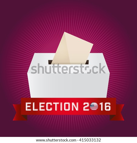 Presidential Election Day 2016. Text: Election 2016. American Flag's Symbolic Elements - Red Stripes and White Stars. Ruby background.