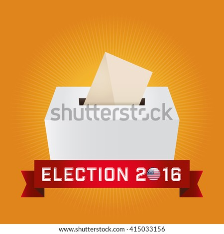 Presidential Election Day 2016. Text: Election 2016. American Flag's Symbolic Elements - Red Stripes and White Stars. Yellow background.