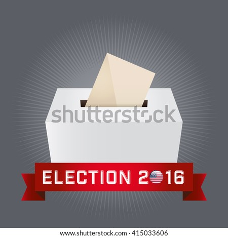 Presidential Election Day 2016. Text: Election 2016. American Flag's Symbolic Elements - Red Stripes and White Stars. Gray background.
