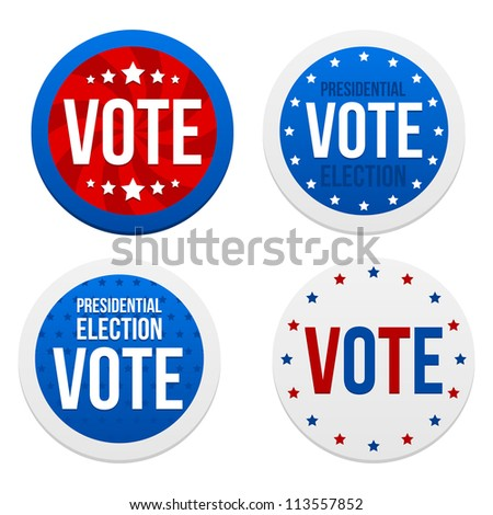 Presidential election stickers. Vector illustration. - stock vector