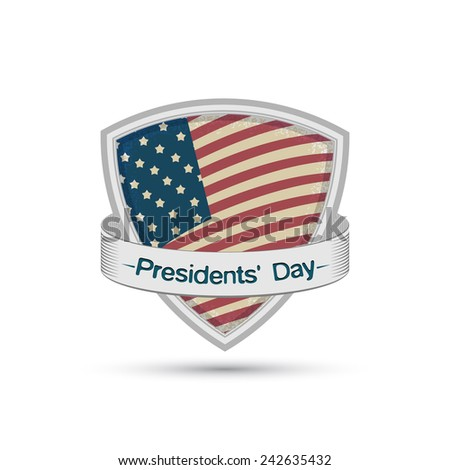 Presidents' Day American flag on a shield Isolated on white background - stock vector