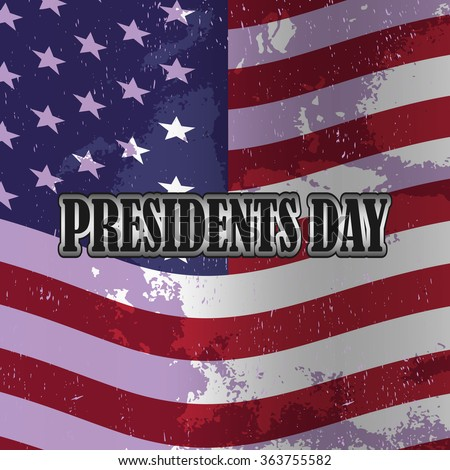 Presidents Day banner on a American flag, vector illustration
