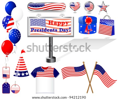 Presidents day. Set of Icons. (button, flag, billboard, t-shirt, balloon, gift).  EPS10. Vector Illustration.