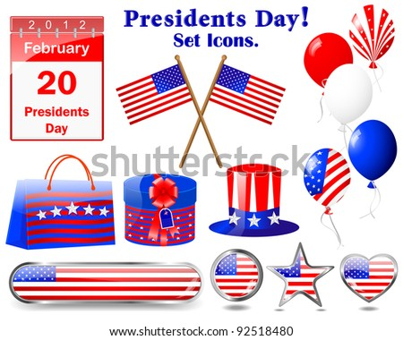 Presidents day. Set of Icons.(button, flag, hat, calendar, balloon, gift). 10 EPS. Vector Illustration.