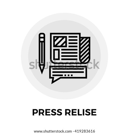 Press release icon vector. Flat icon isolated on the white background. Editable EPS file. Vector illustration. - stock vector