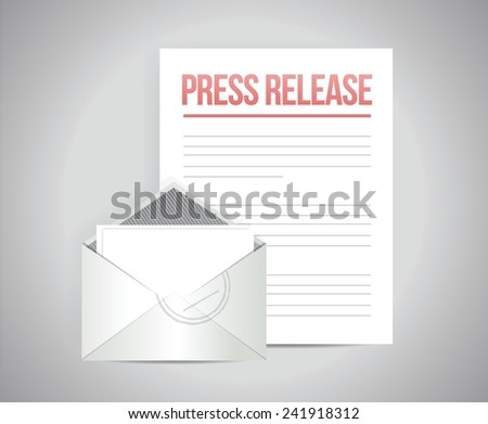 press release mail message illustration design over a grey background - stock vector