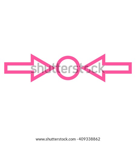 Pressure Horizontal vector icon. Style is contour icon symbol, pink color, white background. - stock vector
