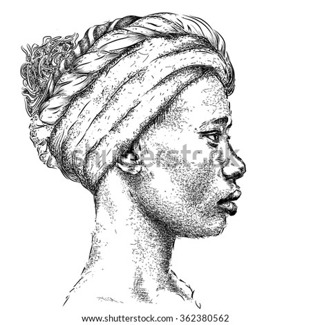 Pretty African American Girl in a turban. Beautiful black woman. Profile view. Hand draw vector illustration