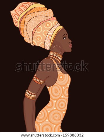 Pretty African American woman in traditional turban. Profile view - stock vector