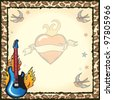 Pretty and Edgy rock star party invitation with old school sailor tattoos of blue birds, stars, flaming heart and flaming guitar against grungy vintage paper against a leopard print back ground. - stock photo