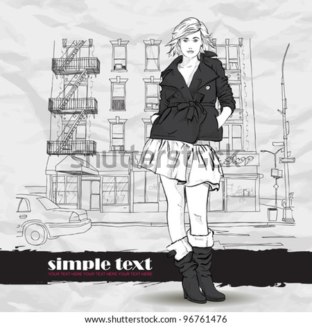 Pretty autumnal girl in sketch style on a street-background. Vector illustrator. - stock vector