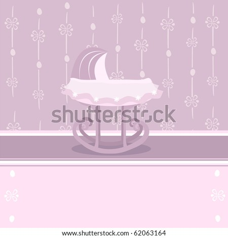 pretty background with baby cradle for girl
