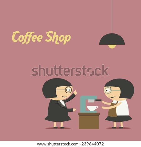 Pretty barista making cup of coffee at the coffee shop - stock vector