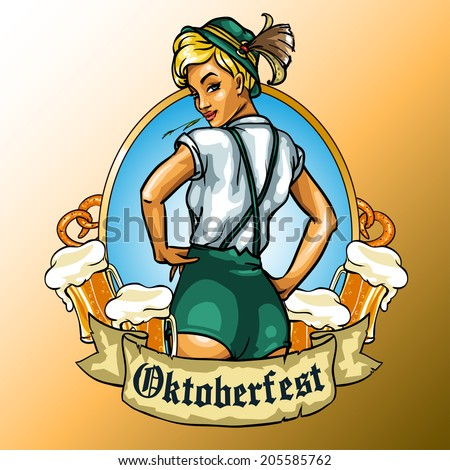 Pretty Bavarian girl with beer around, Oktoberfest label with ribbon banner and space for text, isolated - stock vector