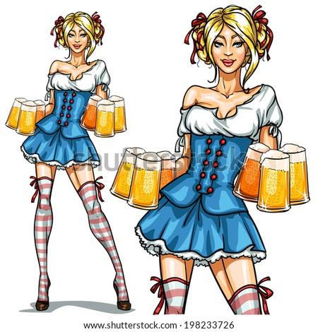 Pretty Bavarian girl with beer, Oktoberfest girl isolated - stock vector