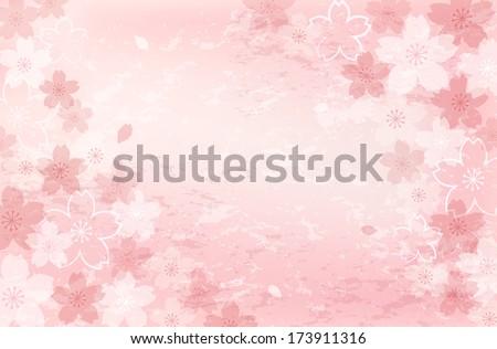 Pretty, beautiful Shabby Chick Cherry blossom background.  - stock vector