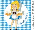 Pretty Blond with a glass of beer celebrating Oktoberfest - stock vector