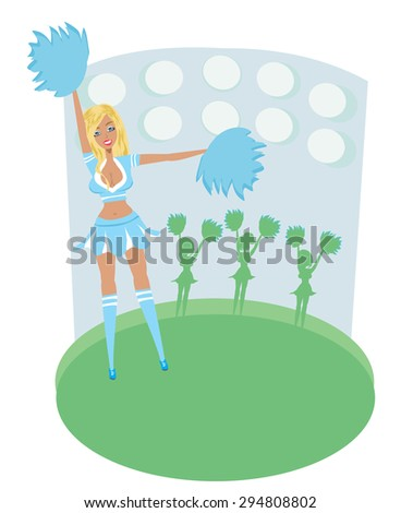 Pretty Blonde Smiling Cheerleader With Pom Poms - abstract card - stock vector