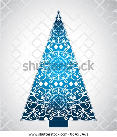 pretty blue graphic christmas tree - stock vector