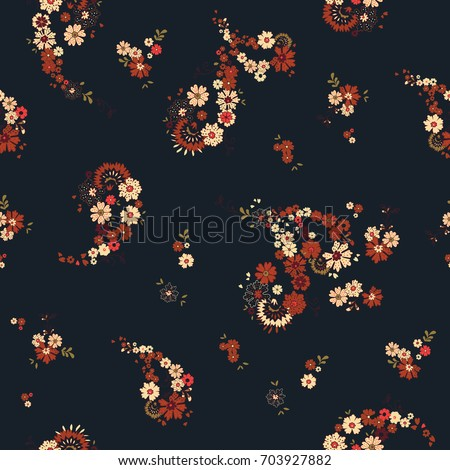 Pretty Boho Floral Paisley Seamless Repeat Wallpaper Tile