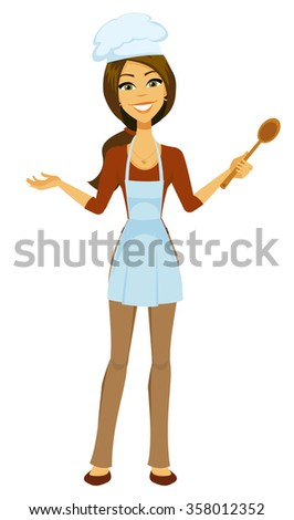 Pretty cartoon chef standing on white background wearing apron and chefs hat and holding a wooden spoon. - stock vector