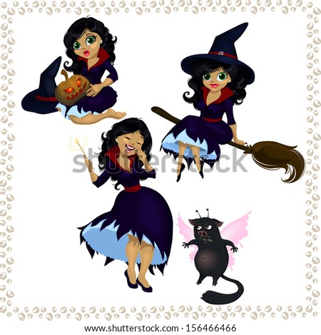 Pretty cartoon witch with imp isolated on white - stock vector