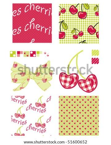 Pretty cherry patterns. - stock vector