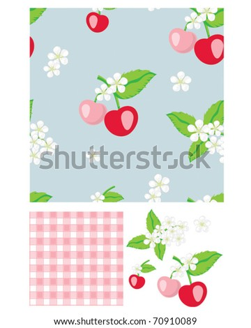 Pretty cherry patterns. Use to print onto fabric for home baking or as backgrounds or other décor projects. - stock vector